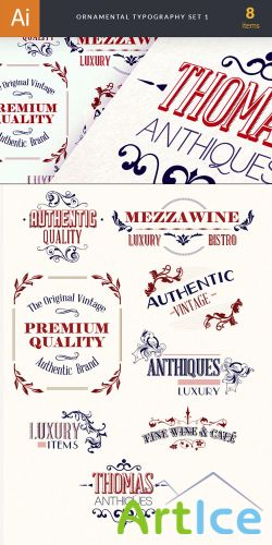 Ornamental Typography Vector Elements Set 1