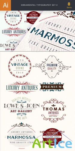 Ornamental Typography Vector Elements Set 2