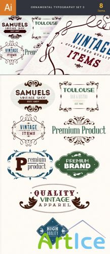 Ornamental Typography Vector Elements Set 3