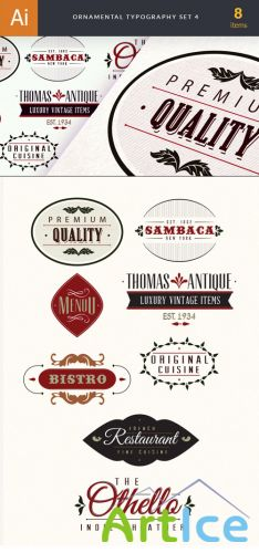 Ornamental Typography Vector Elements Set 4