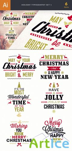 Holiday Christmas Typography Vector Elements Set 1