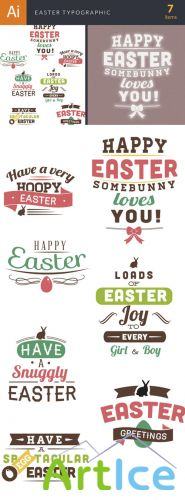 Easter Typographic Vector Elements Set 1