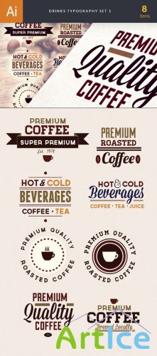 Drinks Typographic Vector Illustrations Pack 1
