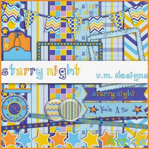 Scrap - Starry Night PNG and JPG