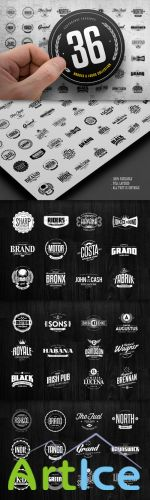 CreativeMarket - 36 Badges & Logos Collection