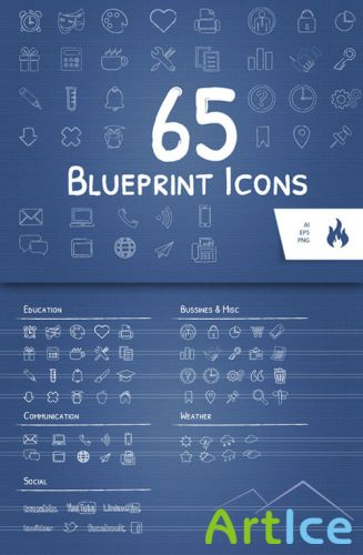 CreativeMarket - 65 Blueprint / Sketched Icon Set