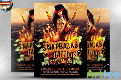 CreativeMarket - Snapbacks and Tattoos Flyer Template