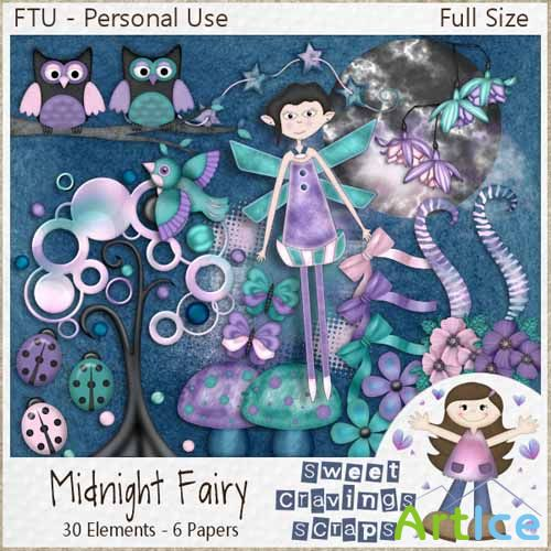 Scrap Kit Midniht Fairy JPG and PNG