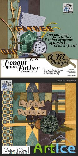 Scrap Kit - Honor Your Father JPG and PNG Set 1