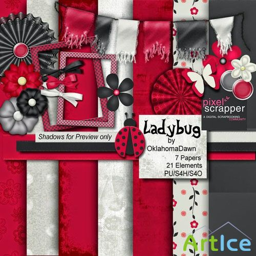 Scrap LadyBug JPG and PNG