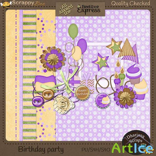 Birthday Party Kit JPG and PNG