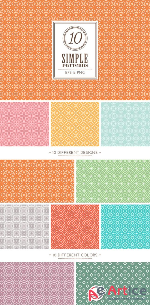 CreativeMarket - Set of 10 simple patterns Vol. 1