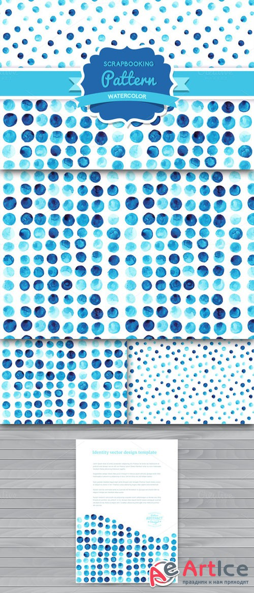 CreativeMarket - Vector Watercolor Seamless Pattern 27003