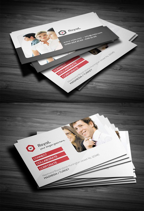 Corporate Red Business Card Template 2 PSD