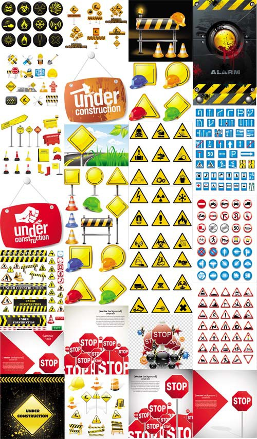 Road and Warning Sings Vector Set