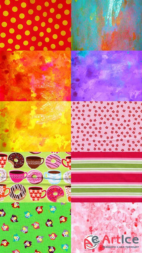 Set of Bright Colored Texture JPG