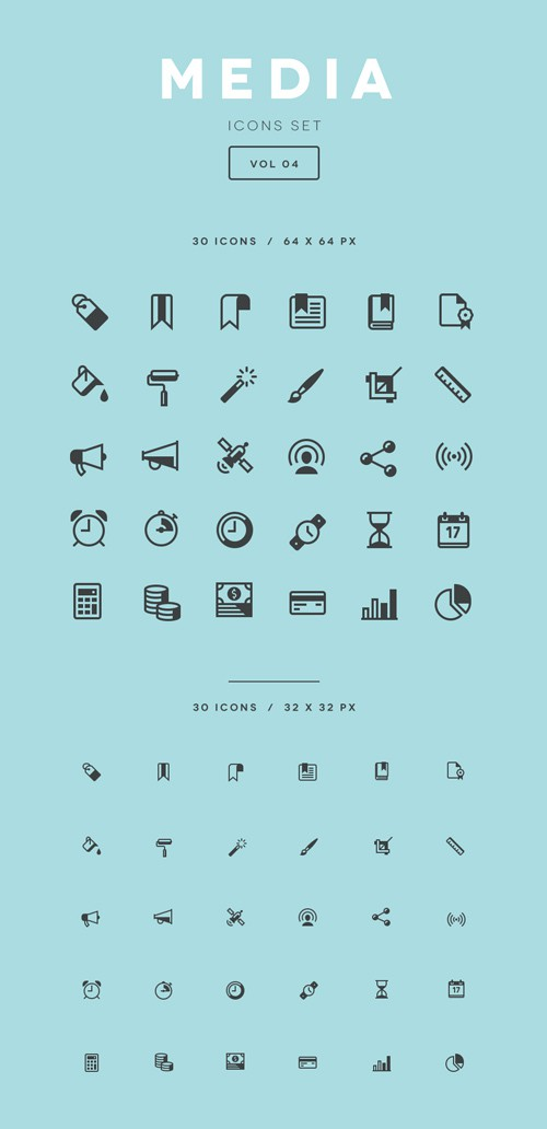 Vector and PSD - Media Icons Set Vol 4