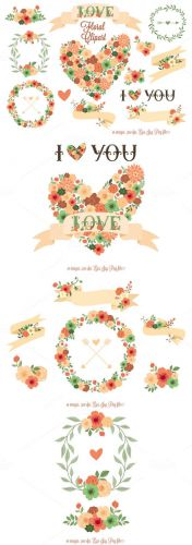 Clip Art Floral Elements Vector Set