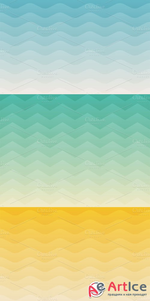 CreativeMarket - 3 Sea geometric backgrounds