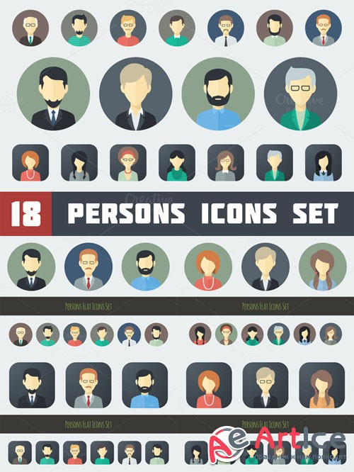 CreativeMarket - Flat Persons Icons Set 1