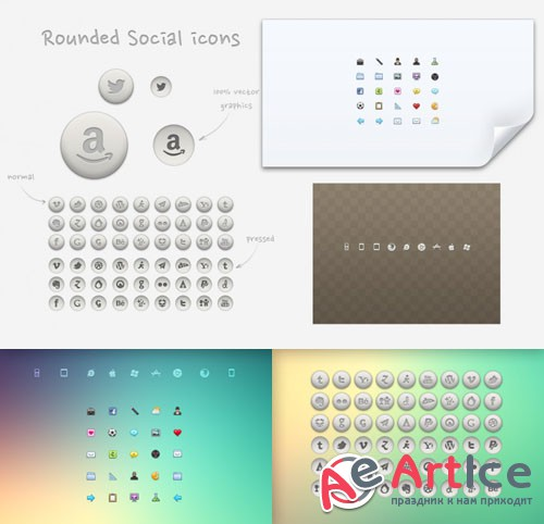 34 Cool Mini Rounded Social Icons