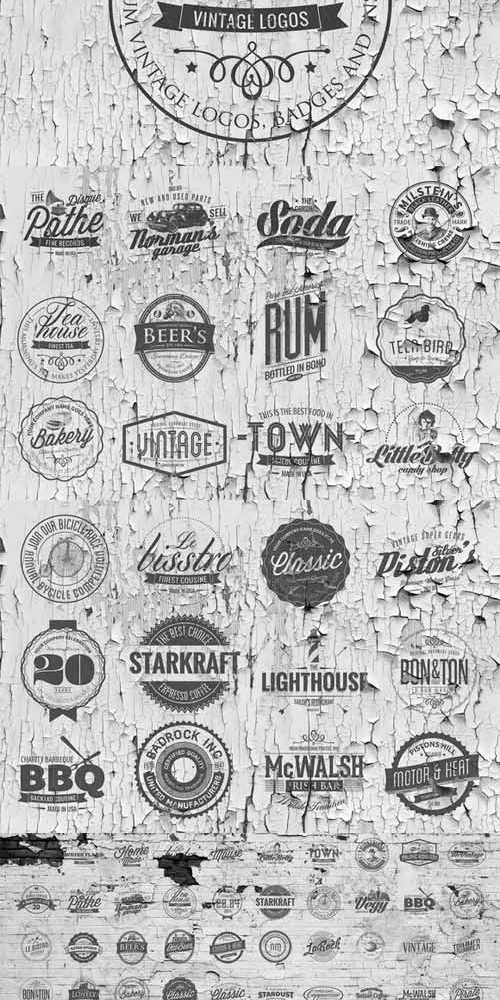 50 Vintage Logos Badges Templates