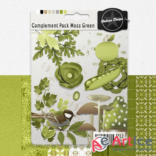 Scrap - Complement Pack Moss Green PNG and JPG