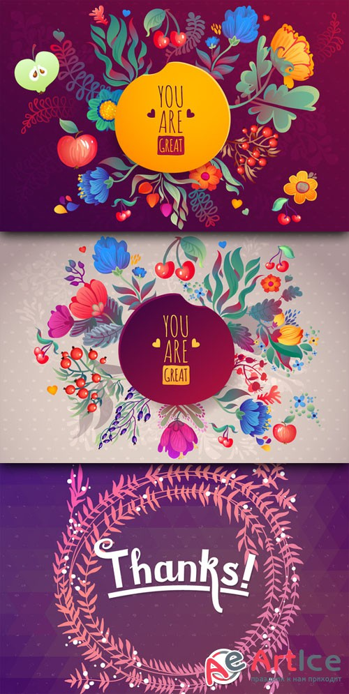 CreativeMarket - 3 Cute Floral Cards 35771
