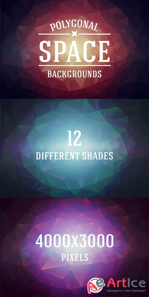 Retro Space Polygonal Backgrounds - Creativemarket 205934