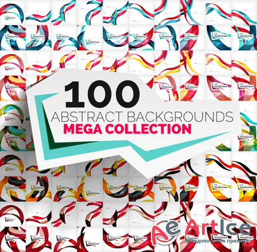 Mega set of 100 wave backgrounds - Creativemarket 210938
