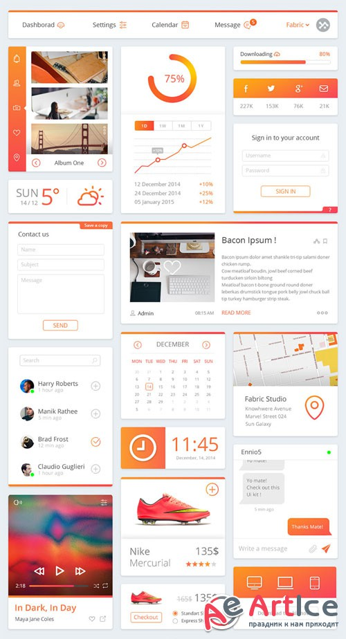 Clean and Modern Dashboard PSD UI Kit