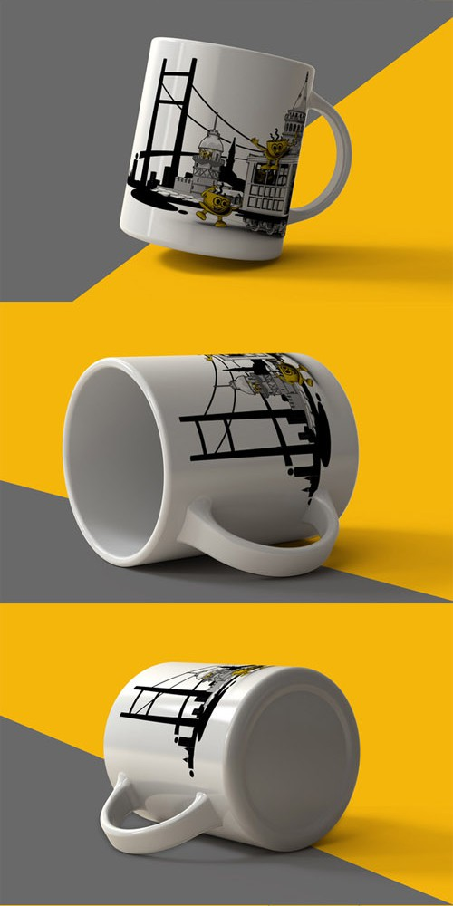 5 Mugs Mock Up