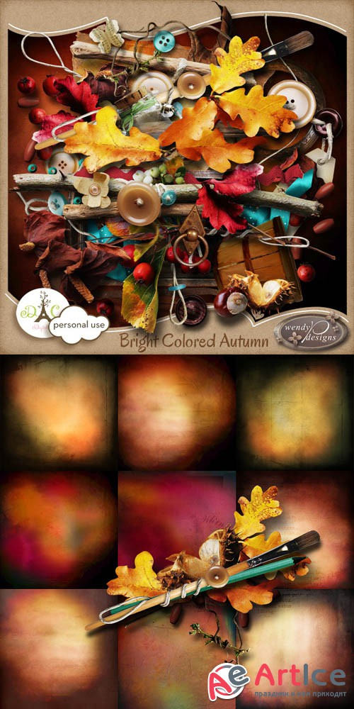 Scrap - Bright Colored Autumn JPG and PNG