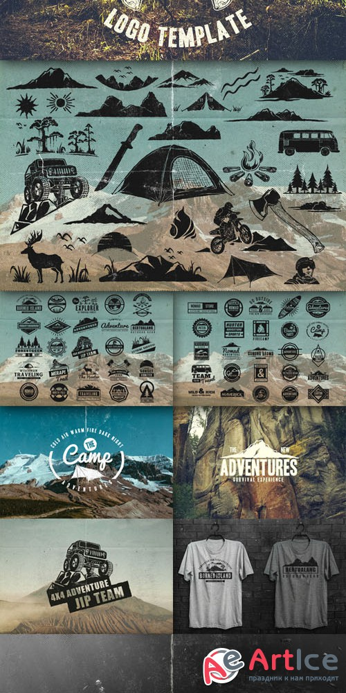 50 Retro Adventure Logo - Creativemarket 152201