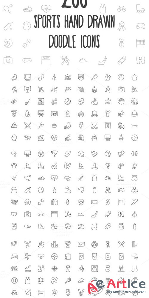 200 Sports Hand Drawn Doodle Icons - Creativemarket 160809