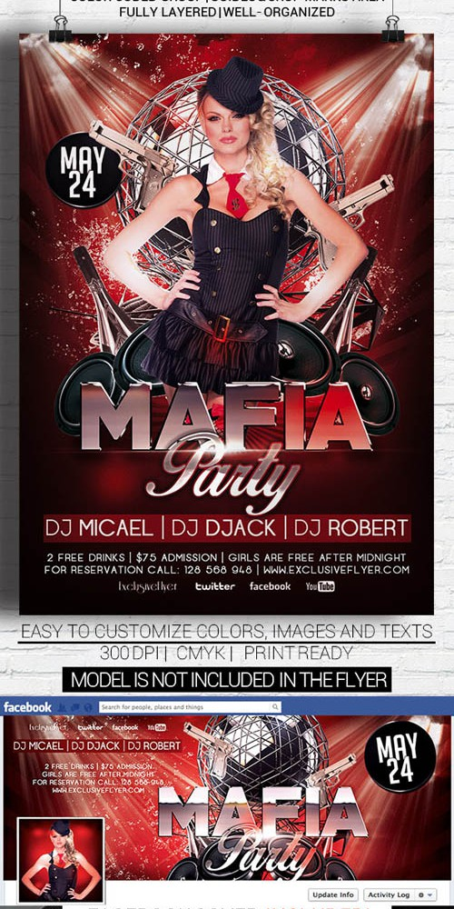 Flyer Template - Mafia Party Facebook Cover