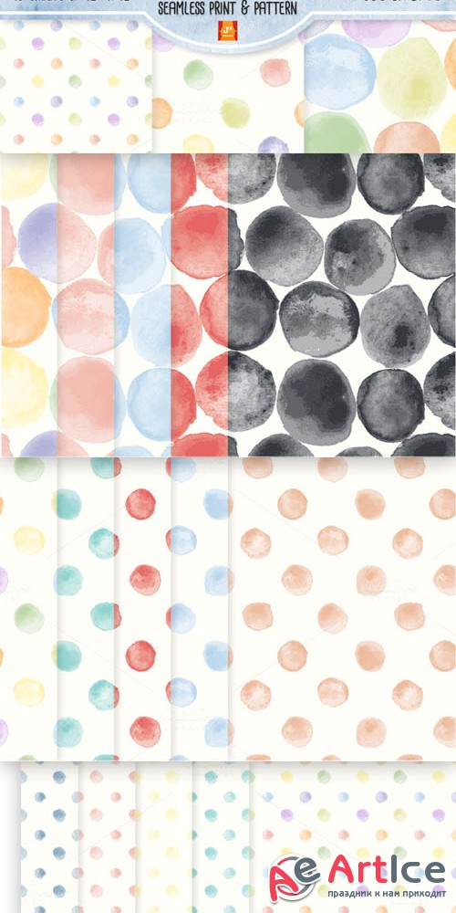 WatercolorDot Seamless Digital Paper - Creativemarket 37587