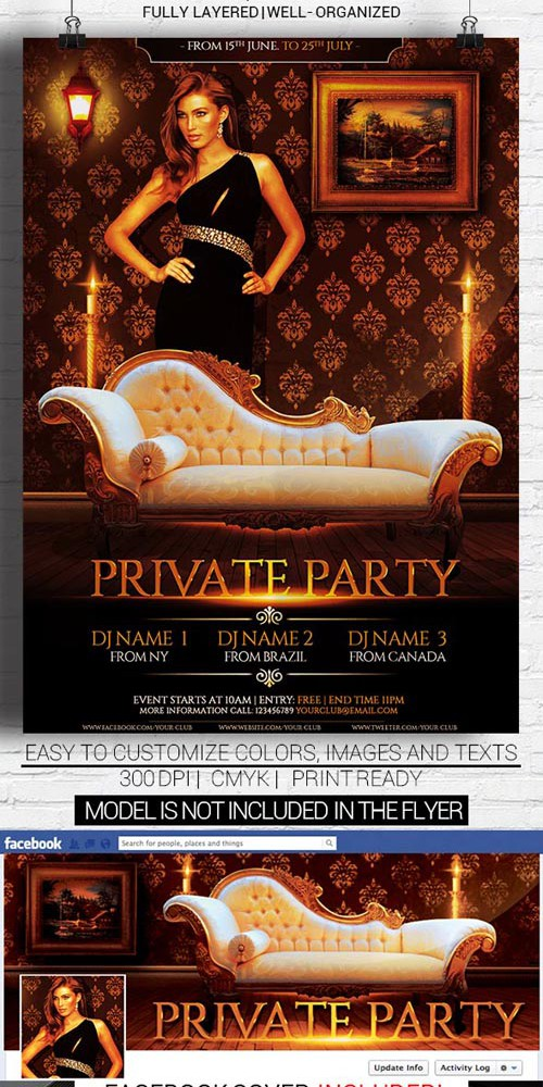Flyer Template - Private Party Facebook Cover