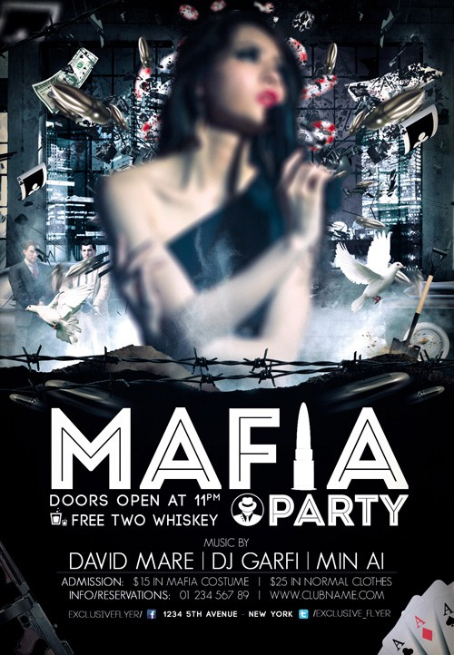 Premium Flyer - Mafia Party Template