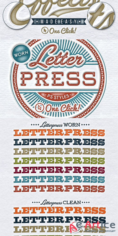Worn Letterpress Photoshop Styles - Creativemarket 157033