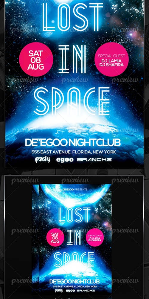 Flyer Template - Lost In Space Party