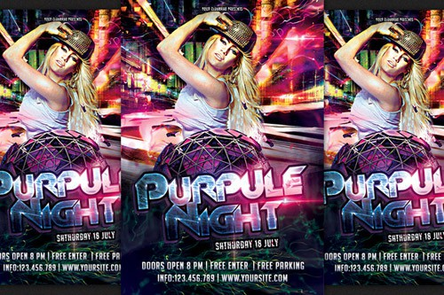 Flyer PSD - Purpule Night Party