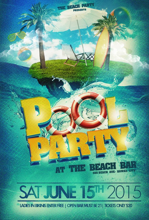 Flyer Template PSD - Pool Party Beach