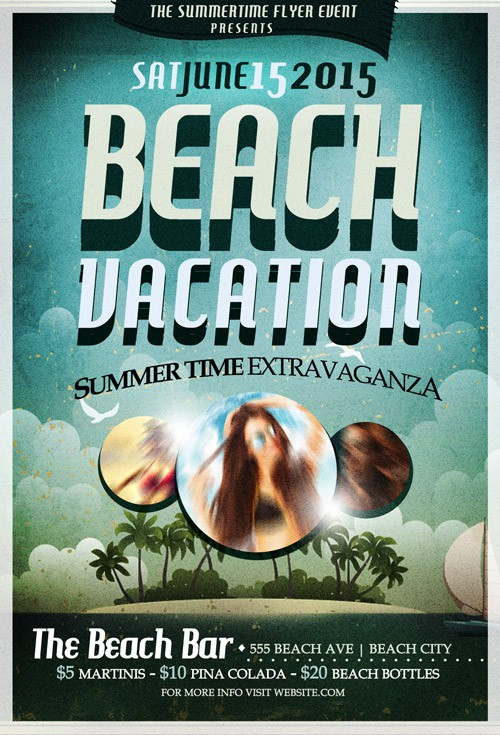 Flyer Template PSD - Beach Party Retro