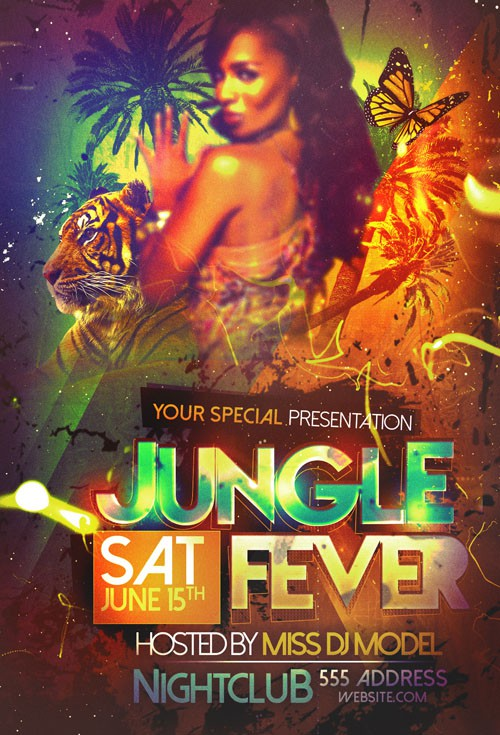 Flyer Template PSD - Jungle Fever Tropical