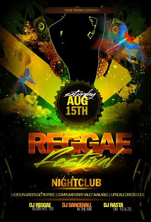Flyer Template PSD - Reggae Festival Party