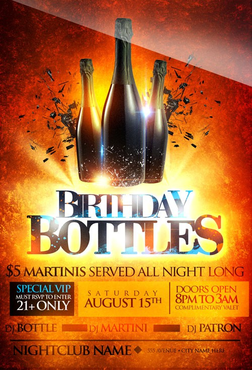 Flyer Template - Bottle Birthday VIP