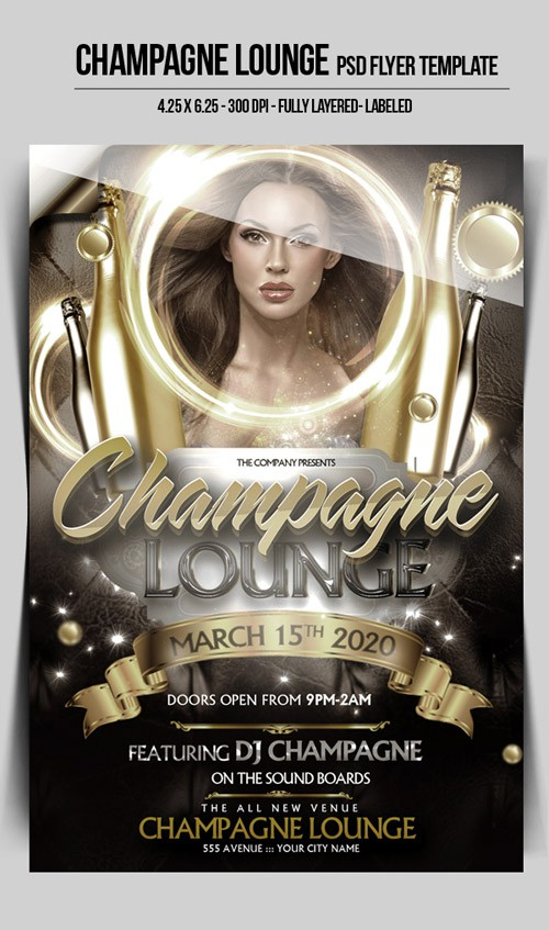 Flyer PSD Template - Champagne Lounge