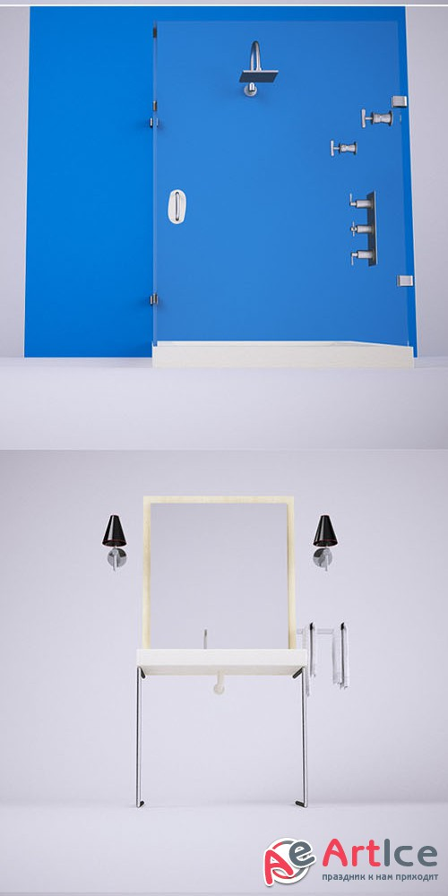 Bathroom Set (VrayC4D) - 3docean 5148886
