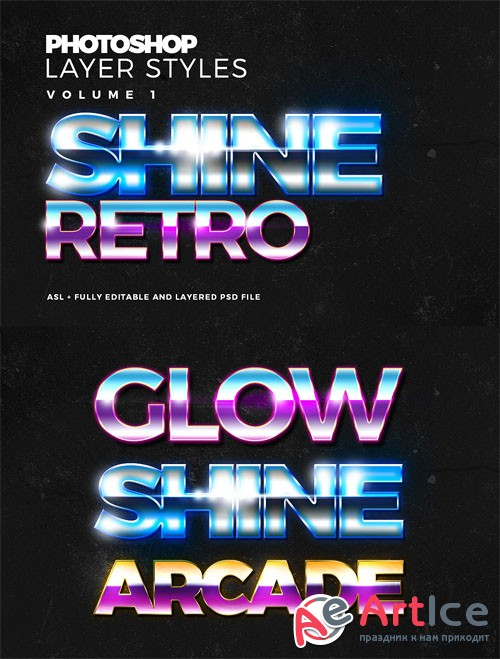 Modern and Glossy Photoshop Text Styles
